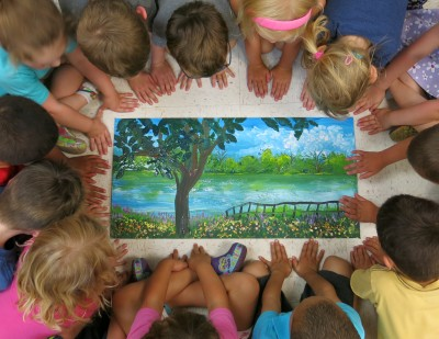 We made a acrylic painting of a park near their school (Olde Isaac Walton Park in Leesburg, VA).